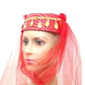 Red & Gold Belly Dancer Costume Persian Hat